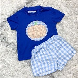Blue Gingham Pumpkin Appliqué Set Sz 2T Smocked
